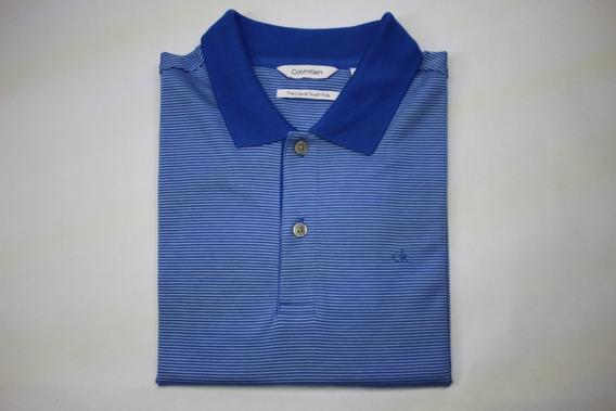 Camisa Hombre Cuello Polo Calvin Klein Azul, Manga Corta