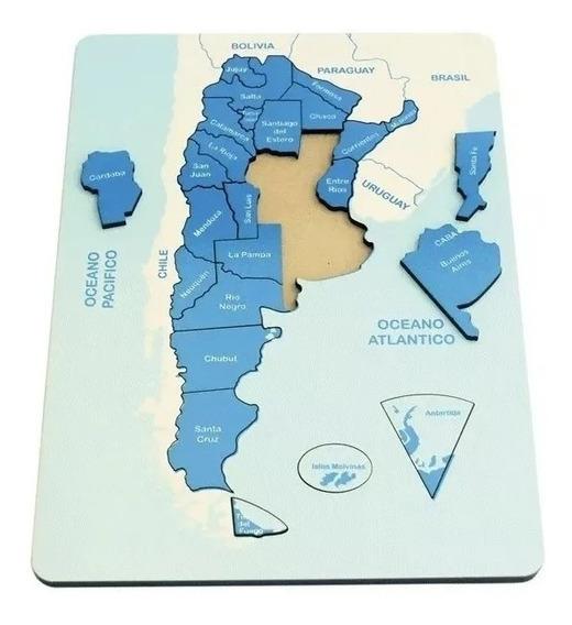 Juego Didactico Encastre Mapa Argentina Con Piezas Madera