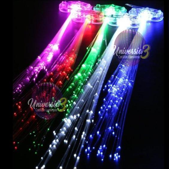 10 Extension Cabello Led Fibra Opt. Cotillon Luminoso Vincha