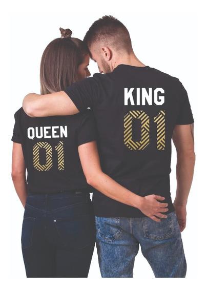 Par De Playeras Para Parejas Novios King Queen Personalizada