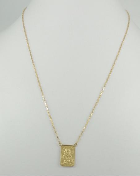 Escapulário Cadeado 65 Cm Cordão 2 Medalhas Ouro 18k 750