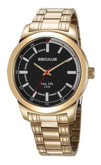 Relógio Dourado Seculus Masculino 23643gpsvda3 Original