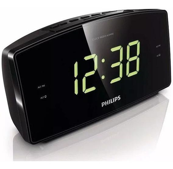 Rádio Relógio Philips Aj3400 Fm Visor Grande Despertador