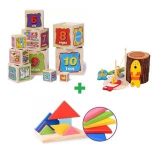 Torre Cubos Encaje+juguete De Pesca Madera Educativo Niños