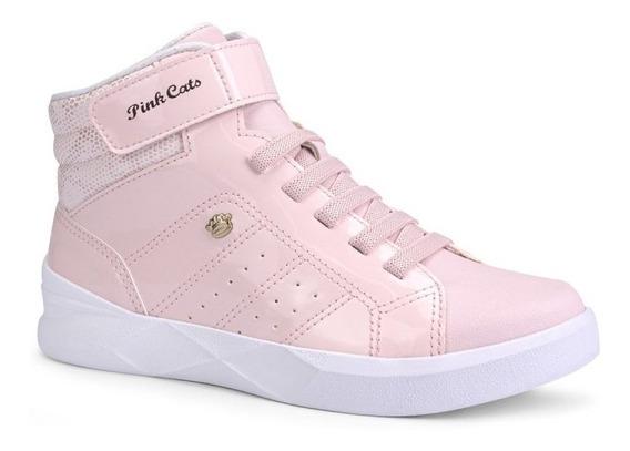 Tênis Pink Cats Meninas Cano Curto V1153 - Rosa