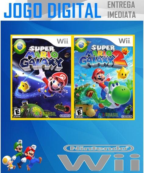 Wii - Super Mario Galaxy 1 E 2 Em Potugues - Envio Imediato