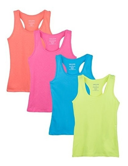 Caramel Cantina Big Girls 4 Pack Racerback Tank Tops 14, Ne