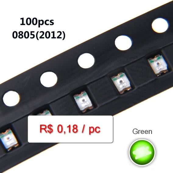 100pc Led Smd 0805 Verde Alto Brilho (grande Estoque)