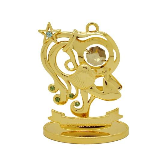 Signo Aquário Ouro 24k Cristais Swarovski Zodíaco Astrologia
