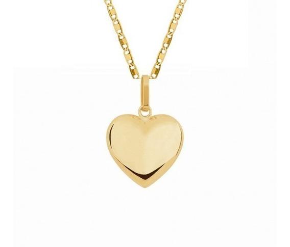 Corrente Banhada A Ouro 18k 50cm Colar + Pingente De Coração