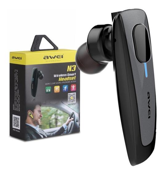 Fone De Ouvido Bluetooth 4.1 Microfone Veicular Pc Awei N3