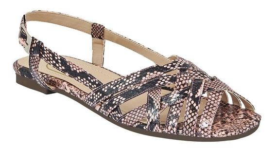 Calzado Zapato Flat Dama Mujer Animal Print Dedos Descubiert