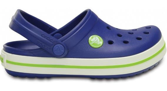 Crocs Crocband Niños Originales Cerulean Blue Volt Green