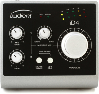 Placa De Audio Usb Audient Id4 Interfaz De Sonido 2 In 2 Out