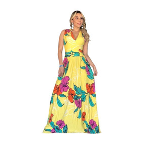57287bdd5f Vestido Franzido Cintura - Vestidos Longos Femininas Amarelo no ...