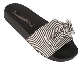 Chinelo Slide Laço Listrado Sandalia Rasteira Moleca 5414104
