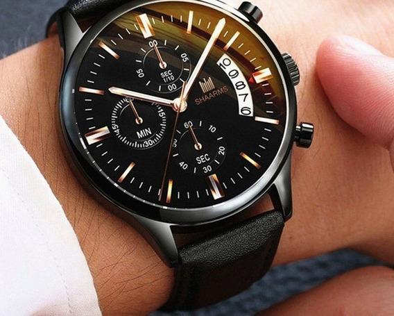 Relógio Luxo Masculino Shaarms Pulso Social Linda Pulseira