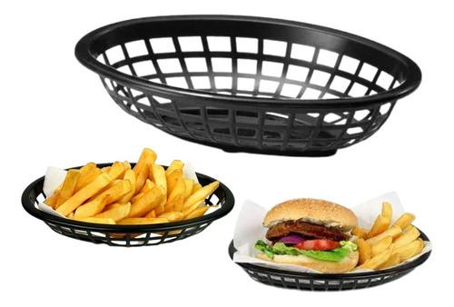 Imagem 1 de 7 de Cestinha Para Hambúrguer De Plástico Oval Tamanho Pequeno