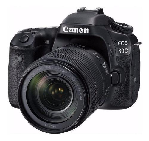 Canon EOS 80D 18-135mm IS USM Kit DSLR color  negro