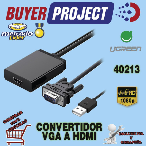 Adaptador Vga A Hdmi Video 1080p Y Audio + Usb Activo Ugreen