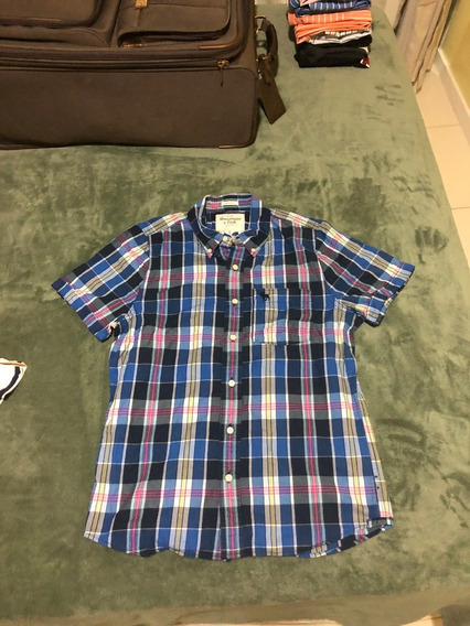 Camisa Da Abercrombie & Fitch Quadriculada Masc. Manga Curta