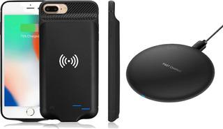 Funda Power Bank Con Cargador Wireless iPhone 6 6s 7 8 6plus 7plus 8p X Xs Inalambrica