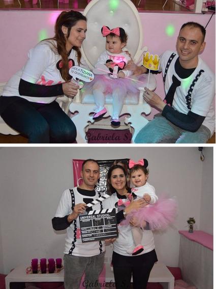 Set Minnie Bordado Familiar: Body Bebé+remera Papá Y Mamá