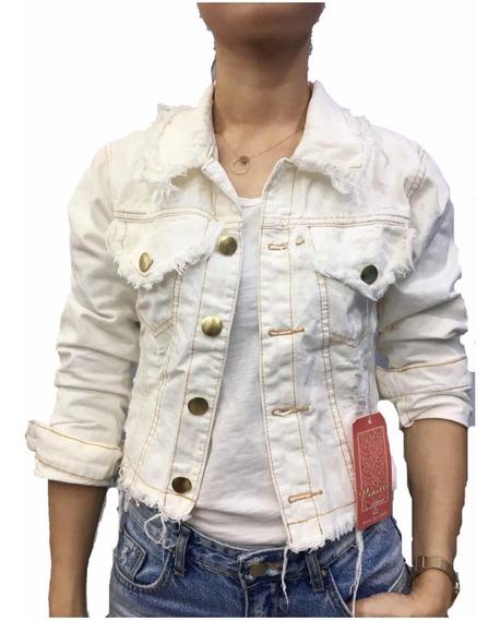 Jaqueta Jeans Feminina Rascada Curta Moda Bege Claro