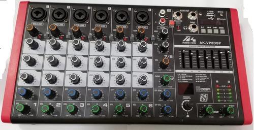 Mixer Audioking 8 Canales Dsp/bt/usb/graba En Vivo/eq 7 Band