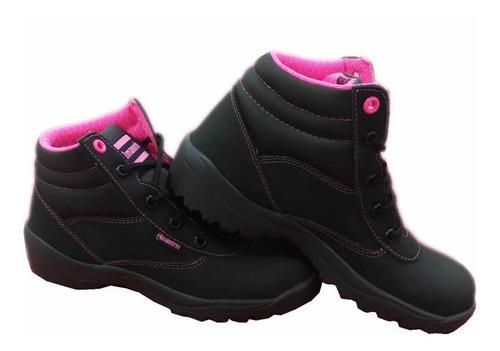Bota Seguridad L10 Cuero Negro-rosado Dama Con Puntera