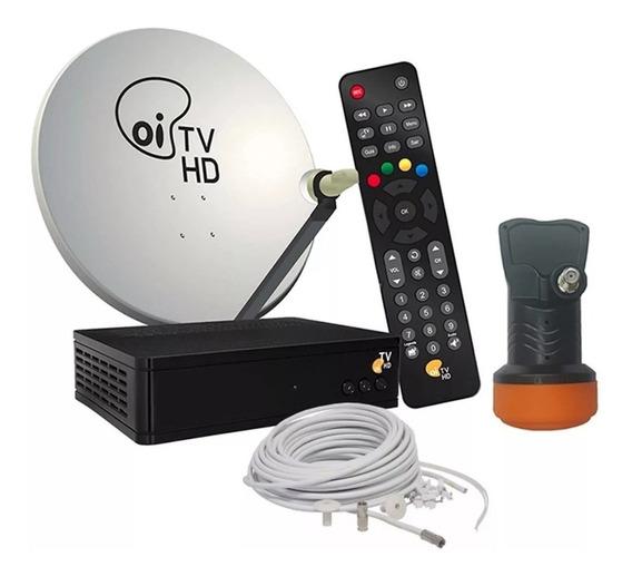 Receptor Oi Tv Livre Hd + Kit Antena 60cm Ku Duplo 17m Fios