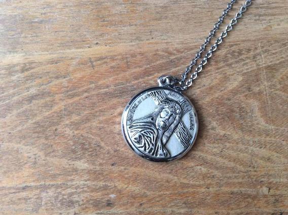 Rara Medalla Antigua Cruz Caravaca Cadena Acero Inoxidable