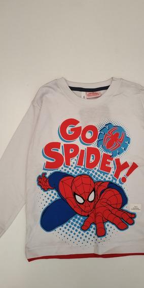 Remera Spiderman Manga Larga Infantil Talle 6 Marvel