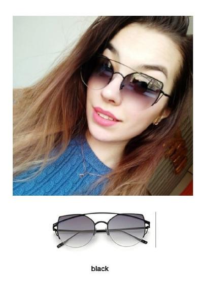 Óculos De Sol Feminino Vintage Olho De Gato Espelho Uv400