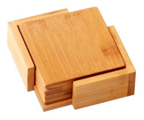 Set De Posavasos Bamboo Con Caja Para Guardarlos Madera