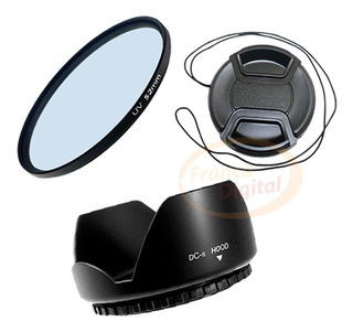 Kit Filtro Uv Parasol Tapa Lente 52mm 55mm 58mm Canon Nikon