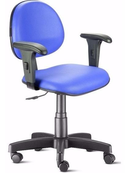Cadeira Executiva Digitador Azul Base À Gás Braços Regulável