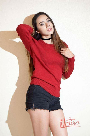 Suéter De Licra Cuello Redondo Mujer Tejido De Punto