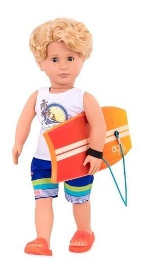 Boneca Our Generation Menino Gabe Com Prancha Surfista
