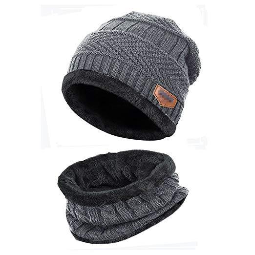 2-pieces Mens Beanie Hat Scarf Set Fleece Lined Winter Warm
