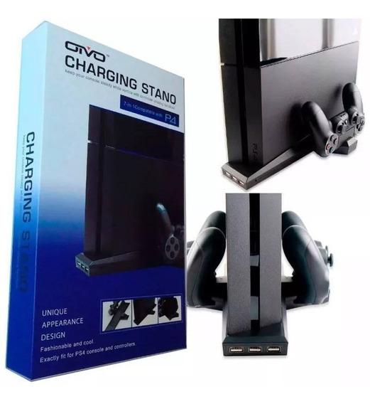 Suporte Base Vertical Ps4 Coolers + Carregador 2 Controles