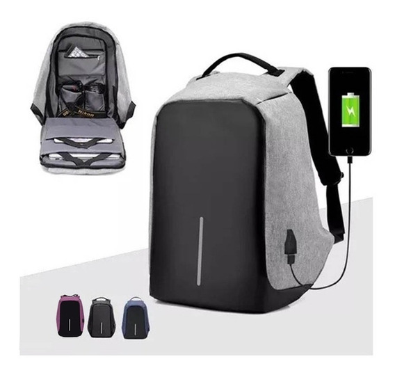 Mochila Backpack Antirrobo Impermeable Puerto Usb Laptop Tab