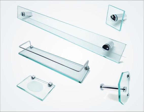 Kit De Acessórios P/ Banheiro 5 Pçs Em Vidro Incolor C600