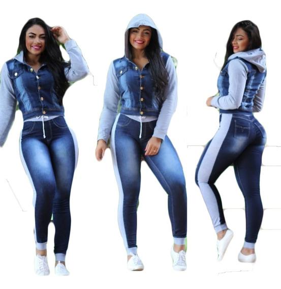 Kit 6 Conjuntos Jeans Feminino Calça E Jaqueta Com Moletom
