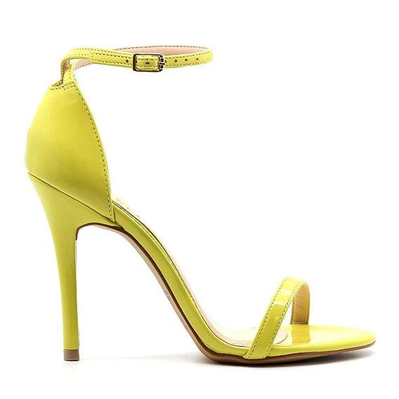 Sandália Royalz Verniz Salto Alto Fino Tira Amarelo