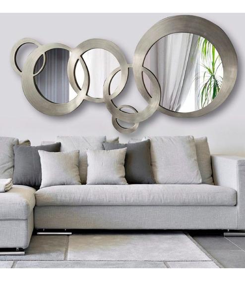 Espejo De Diseño Circulos En Metal 1.6x65cm