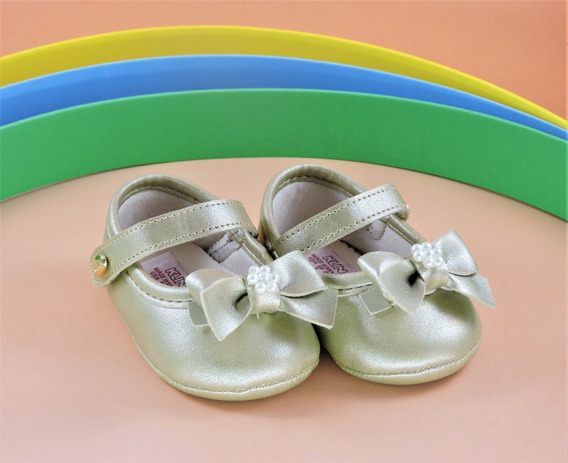 Sapatinho Bebê Menina Recém Nascido Klin Dourado
