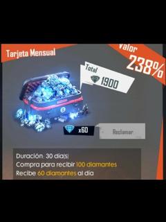 Tarjeta Semanal Free Fire × 500 Diamantes + 60 Regalo.