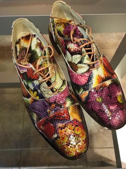 Zapatos De Cuero Hombre - Fiesta - Floreados - Nunca Usados