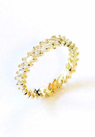 Meia Aliança Completa Ouro 18k Zirconia Branca Ref 03-167